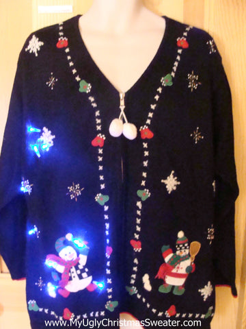 Light Up Ugly Xmas Sweater Happy Snowmen
