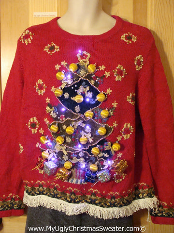 Tacky Ugly Christmas Sweater 80s Giant Tree 3D Ornaments with Lights and Fringe (g95)
