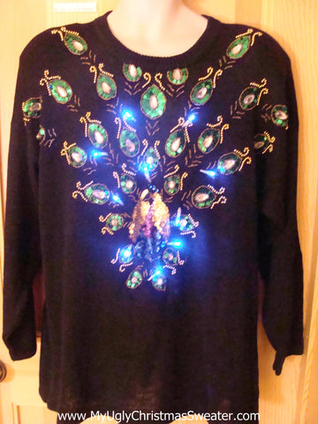 Light Up Ugly Xmas Sweater 80s Bling Horrible Pullover
