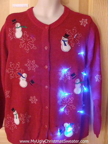 Light Up Ugly Xmas Sweater Windy Cold Winter Snowmen