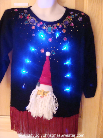 Light Up Ugly Xmas Sweater 3D Santa Fringe 80s