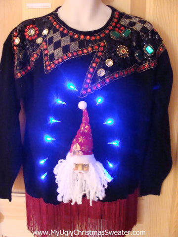 Light Up 80s Ugly Xmas Sweater Funny Santa