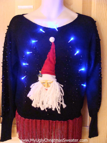 Light Up 80s Ugly Xmas Sweater Bling 3D Santa
