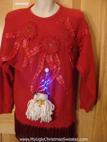 Light Up 80s Ugly Xmas Sweater 3D Santa Fringe