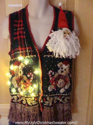 Tacky Ugly Christmas Sweater Vest 80s Bears and 3D Santa with Lights and Fringe (g96)