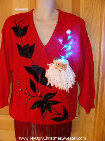 Light Up 80s Bling Ugly Xmas Sweater 3D Santa