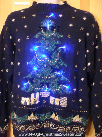Light Up Ugly Xmas Sweater 80s Style Tree Snowflakes