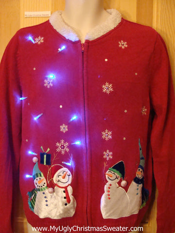 Light Up Red Ugly Xmas Sweater with Happy Snowmen