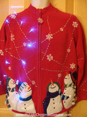Light Up Ugly Xmas Sweater Carrot Nosed Snowmen