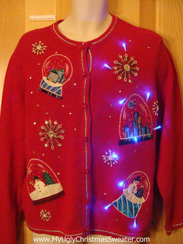 Light Up Ugly Xmas Sweater Bling Snowglobe Theme