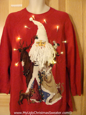 Tacky Ugly Christmas Sweater 3D Santa with Lights  (g97)