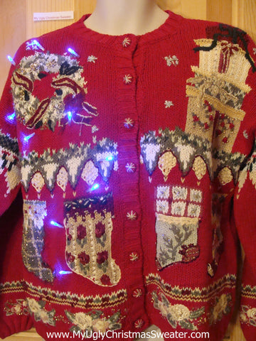 Light Up Ugly Xmas Sweater 80s Cardigan