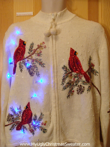 Light Up Ugly Xmas Sweater Red Bling Cardinal Birds