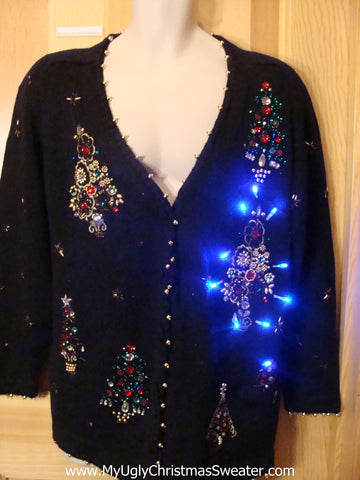 Light Up Ugly Xmas Sweater 80s Bling Trees