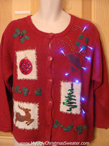 Light Up Ugly Xmas Sweater Bling Tree, Reindeer