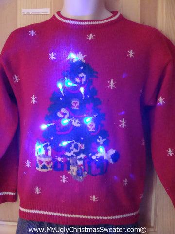 Tacky Ugly Christmas Sweater 80s Giant Tree with Lights(g98)