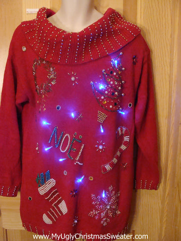 Light Up Ugly Xmas Sweater 80s Bling Red Pullover