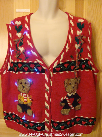 Light Up Ugly Xmas Sweater Vest with Bears and Hearts