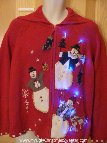 Light Up Ugly Xmas Sweater Peaking Snowmen