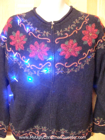 Light Up Ugly Xmas Sweater 2sided Poinsettias Nordic