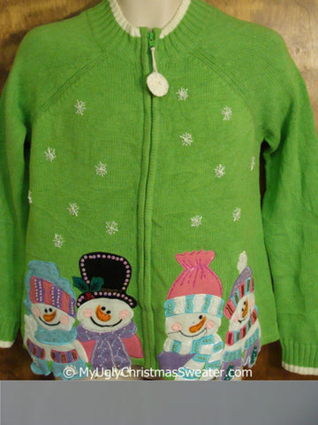 Ugly Lime Green Christmas Sweater with Snowmen