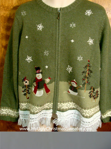 Snowman Family with Robins Ugly Xmas Sweater
