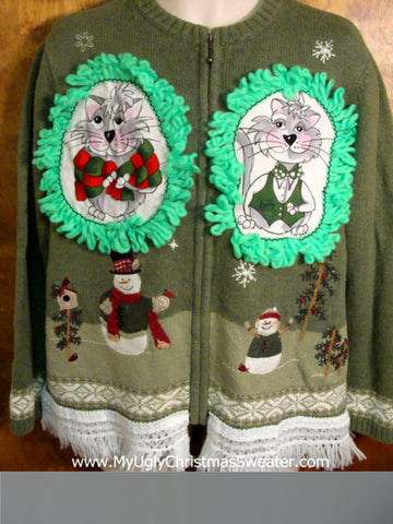 Snowman Dad and Son Cat Christmas Sweater
