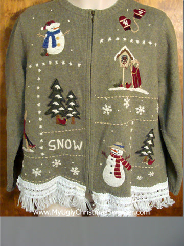 Snowmen Celebrating Snow Ugly Christmas Jumper