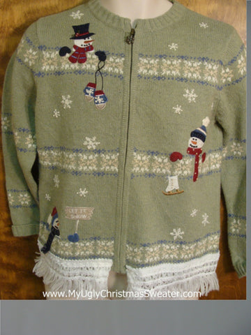 Snowmen Having Winter Fun Ugly Xmas Sweater