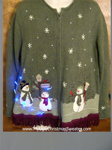Snowmen Firends Themed Light Up Ugly Xmas Sweater