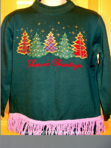 Tacky Christmas Sweatshirt Plaid Trees Seasons Greetings