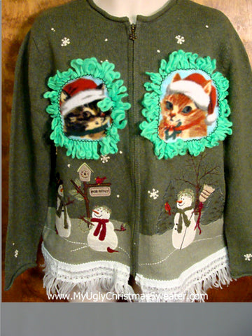 Snowman Family and Kittens Ugly Christmas Sweater