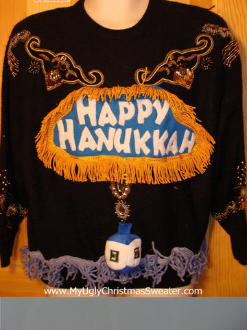 Ugly Christmas Sweater Party Hanukkah Sweater Vintage 80s (j136)