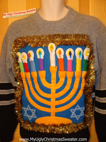 Ugly Christmas Sweater Party Hanukkah Sweater (j100)