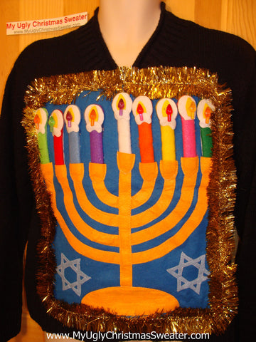 Ugly Christmas Sweater Party Hanukkah Sweater (j101)