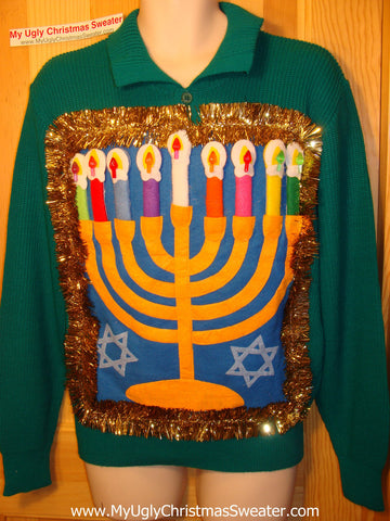Ugly Christmas Sweater Party Hanukkah Sweater (j102)