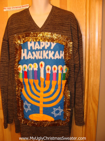 Ugly Christmas Sweater Party Hanukkah Sweater (j103)