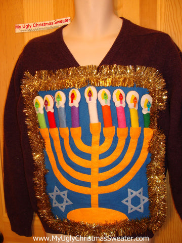 Ugly Christmas Sweater Party Hanukkah Sweater (j104)