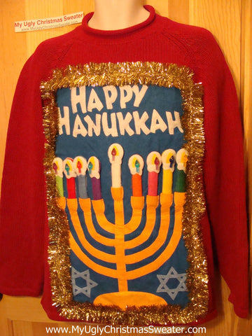 Ugly Christmas Sweater Party Hanukkah Sweater (j105)