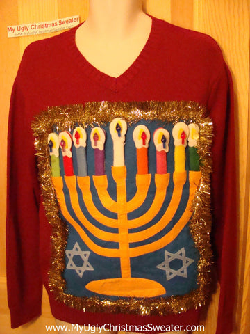 Ugly Christmas Sweater Party Hanukkah Sweater (j106)