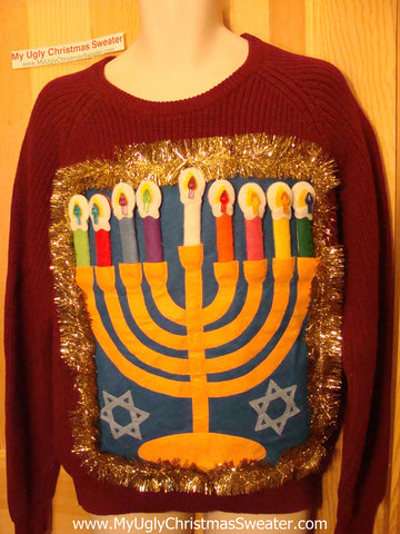 Ugly Christmas Sweater Party Hanukkah Sweater (j107)