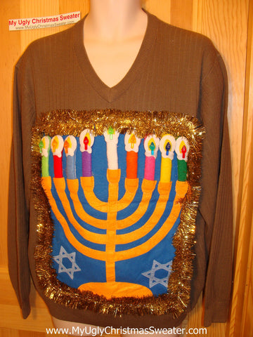 Ugly Christmas Sweater Party Hanukkah Sweater (j108)