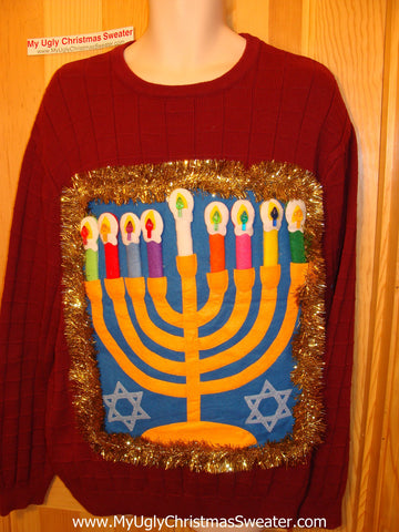 Ugly Christmas Sweater Party Hanukkah Sweater (j109)