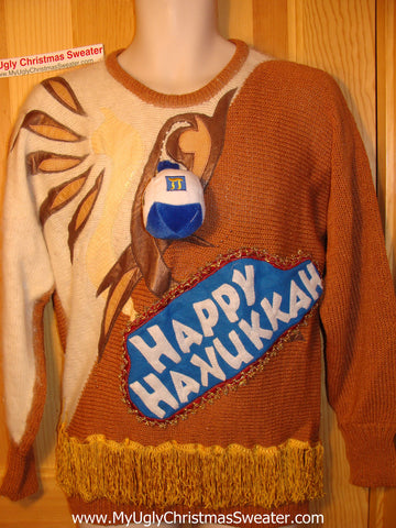 Ugly Christmas Sweater Party Hanukkah Sweater 80s(j112)