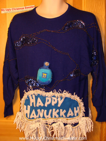 Ugly Christmas Sweater Party Hanukkah Sweater 80s (j114)