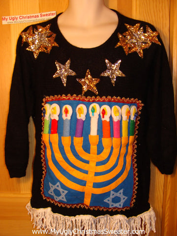 Ugly Christmas Sweater Party Hanukkah Sweater 80s (j115)