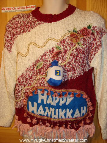 Ugly Christmas Sweater Party Hanukkah Sweater 80s (j117)