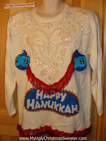 Ugly Christmas Sweater Party Hanukkah Sweater 80s Naughty Dreidels (j118)