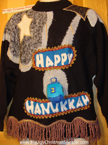 Ugly Christmas Sweater Party Hanukkah Sweater Vintage 80s (j120)