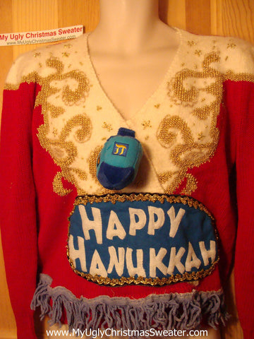 Ugly Christmas Sweater Party Hanukkah Sweater Vintage 80s (j128)